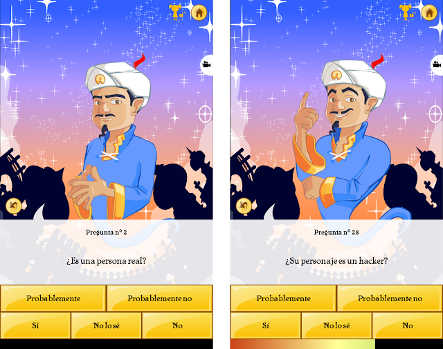 Akinator is an app that tries to guess the person you are thinking of