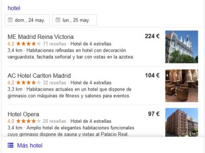 Búsqueda hotel Google