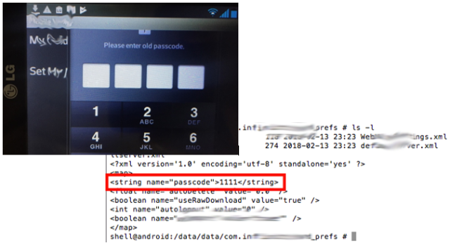 """Almacenamiento de Clave en Texto-Plan """"PassCode"""" para acceder a la aplicación imagen"""