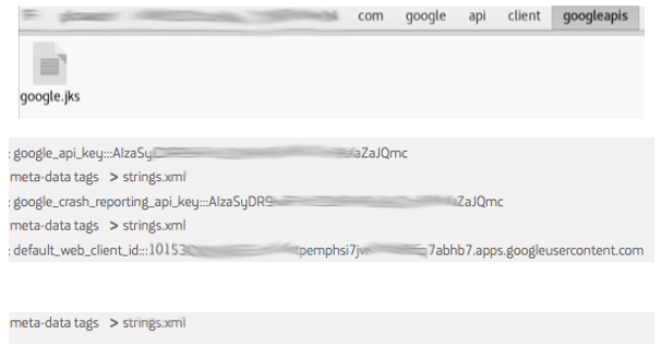 "Archivos JKS & Google API Keys ""hardcoded"" imaegn"