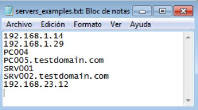Ejemplo de fichero con el listado de ordenadores a auditar HN utiliza la librería Python de WMI imagen