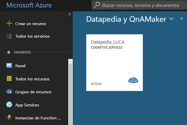 Figura 7: Nuestro servicio QnA en Azure.