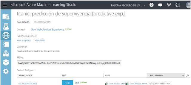 Figura 6: Consola web services en Azure ML Studio.