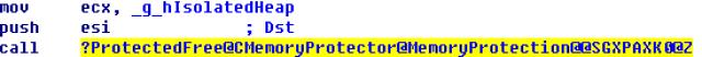 Delay free o MemoryProtection código imagen