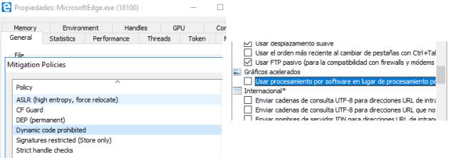 """Marcando esta opción se activa """"Dynamic code prohibited"""" (o sea, ACG) en Edge imagen"""