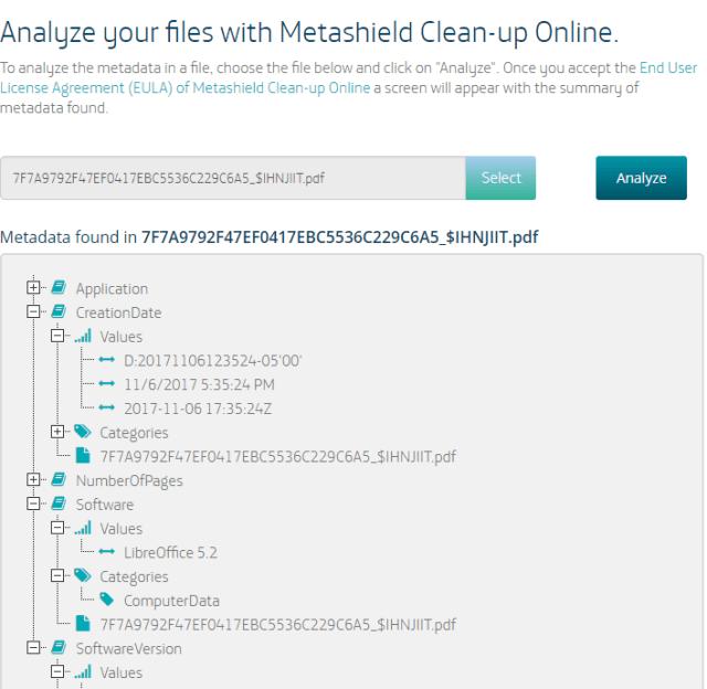 Simulación de análisis de datos con Metashield de ElevenPaths