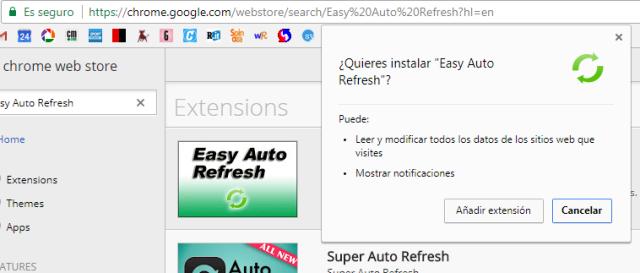 Ejemplo: Permisos de una extensión cualquiera en Chrome
