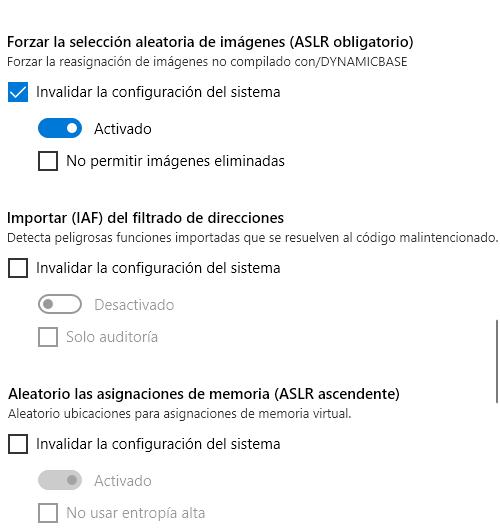 forzar opciones como ASLR imagen