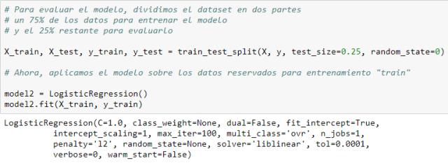 Dividimos el dataset en train y test.