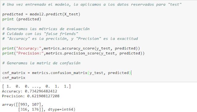 Calculamos precisión, exactitud y matriz de confusión.