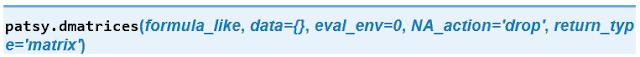 Sintaxis de de función dmatrices de Patsy.