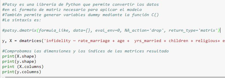 Código para convertir la matriz de datos en el formato necesario para aplicar el modelo.