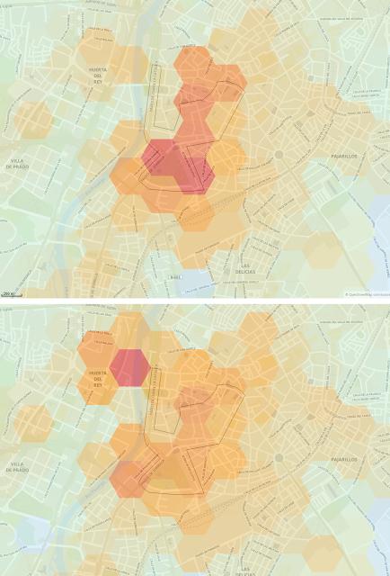 Figura 2: Intensidad de movimiento en transporte público o privado en Valladolid el 29/10/2017. Arriba: 10:00-11:00. Abajo: 11:00-12:00.