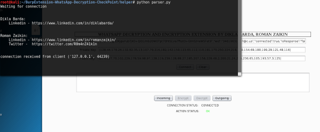 """Arrancando el script """"parser.py"""" y conectando la extensión imagen"""