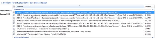 """Peso de una actualización """"habitual"""" en Windows 7 imagen"""