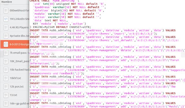 volcado directo de la base de datos imagen
