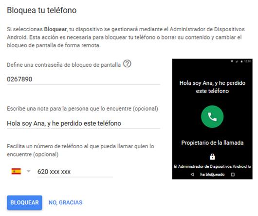 bloquear teléfono con Google