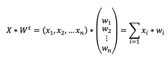 Fórmula que representa la sinopsis de una neurona artificial