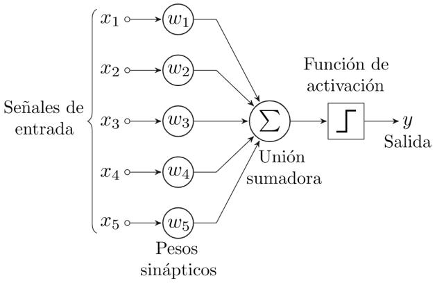 Esquema de un percepción o neurona artificial. Fuente: https://es.wikipedia.org/wiki/Perceptr%C3%B3n