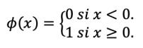 Fórmula de la función escalón