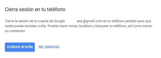 cerrar sesión móvil con Google