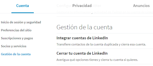 configuración Linkedin