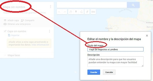 nombrar mapa google