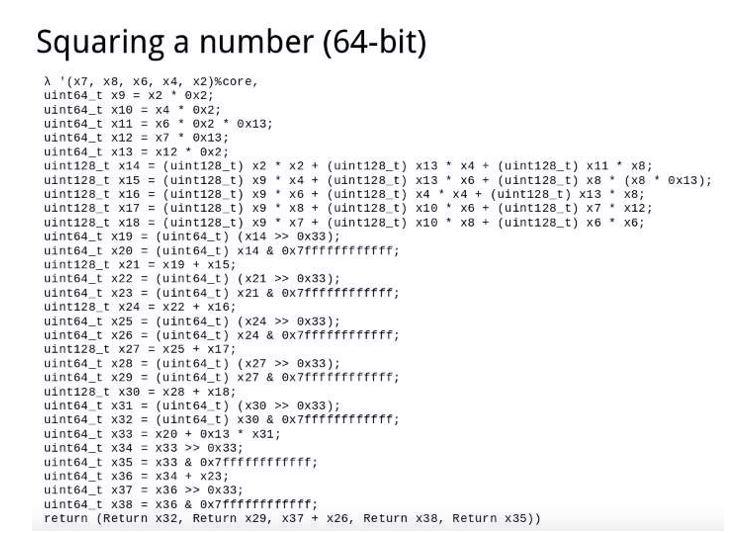 Codificación en C de la función elevar al cuadrado módulo un primo