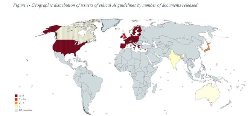 Figura 4: Distribución geográfica de países que han creado directrices éticas para IA (Ampliar)