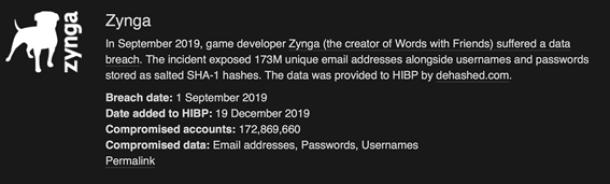 """Información de la brecha de Zynga en el portal """"Have I been pwned?"""""""