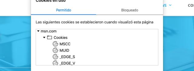 Cookies habilitadas para msn.com en Edge
