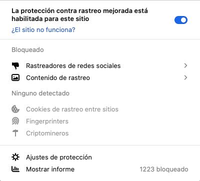 Protección contra rastreo en Firefox