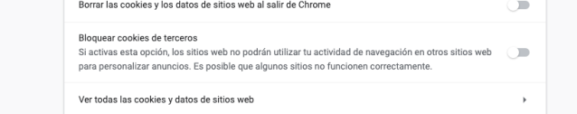 Bloqueo de cookies en Chrome