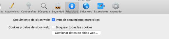 Bloqueo de cookies en Safari