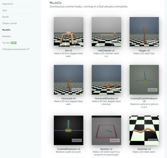 Figura 4. Entornos OpenAI para simulación física y procesos de auto-aprendizaje para por ejemplo, caminar. Fuente, OpenAI.