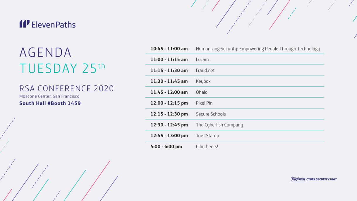 Agenda ElevenPaths martes 25 RSA Conference