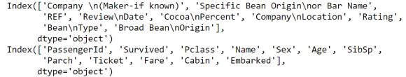 Figura 1: Nombres de columnas de ambos datasets
