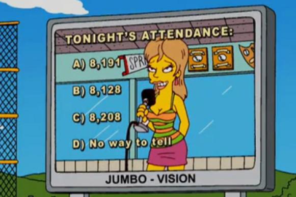 Fotograma del capítulo donde Homer tienen que adivinar cuántos asistentes han ido al partido. Fuente.