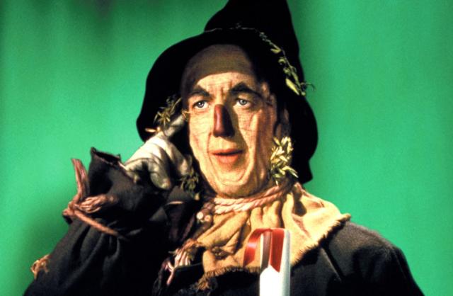 """Fotograma de la película de """"El Mago de Oz"""" donde el espantapájaros recibe un diploma en vez de un cerebro. Fuente."""