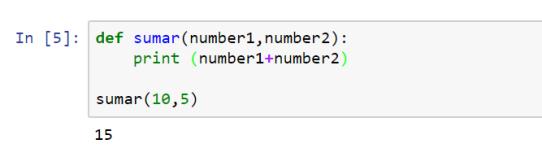 Figura 3: ejemplo de definición de la función sumar()
