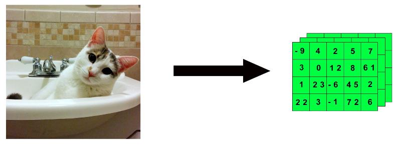 """Figura 4: Representación de cómo una imagen se puede """"encapsular"""" en un tensor 4D."""
