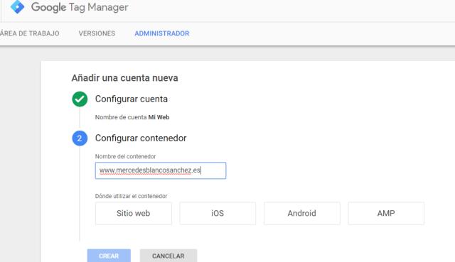 Configurar cuenta y contenedor Tag Manager