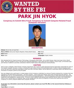 Ficha de Park Jin Hyok. Fuente: FBI