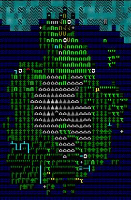 Figura 5. Ejemplo de mapa de terreno en Dwarf Fortress (fuente)