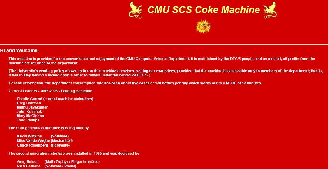 Figura 5: Página web de la máquina de cocacola del  CMU Computer Science Department