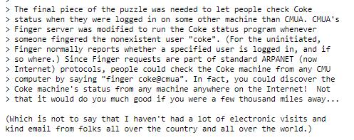 Figura 5: Extracto de la Historia de la Coke Machine del CMU SCS