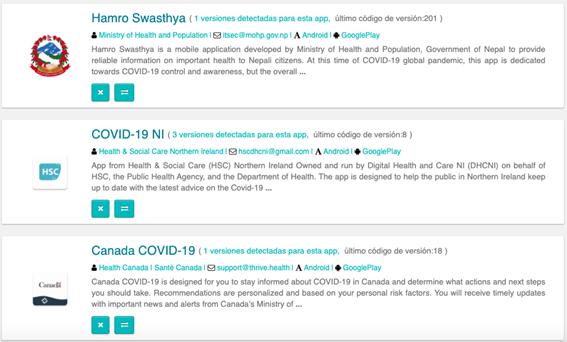 Apps relacionadas con el COVID-19 publicadas en Google Play que no son de España
