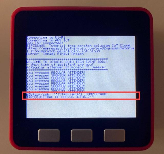 Figura 19. Mensaje emitido de organización a M5Stack avisando de una decisión en real-time