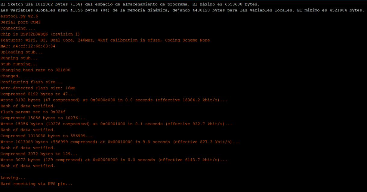 Figura 7. Trazas de correcta escritura (flashing) de boceto en M5Stack Fire desde Arduino IDE
