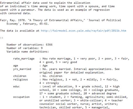 Figura 1: Descripción del dataset affairs
